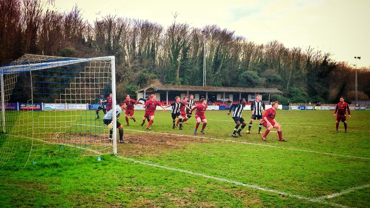 Fisher line up to attack a free-kick. Photo: Dan York